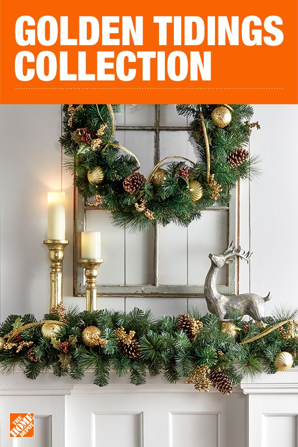 Find the perfect blend of classy and glamorous this holiday season with sparkling gold decor. Each piece of artificial greenery in this collection is beautifully pre-decorated with gold ornaments and glittered gold string, as well as gold and burgundy glittered holly berries, leaves and pinecones. Click to shop the Golden Tidings Collection by Martha Stewart Living.