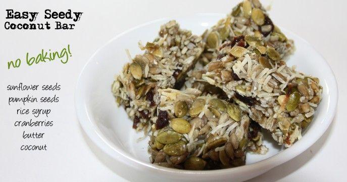 Seed Coconut Bar. Gluten & Nut free!