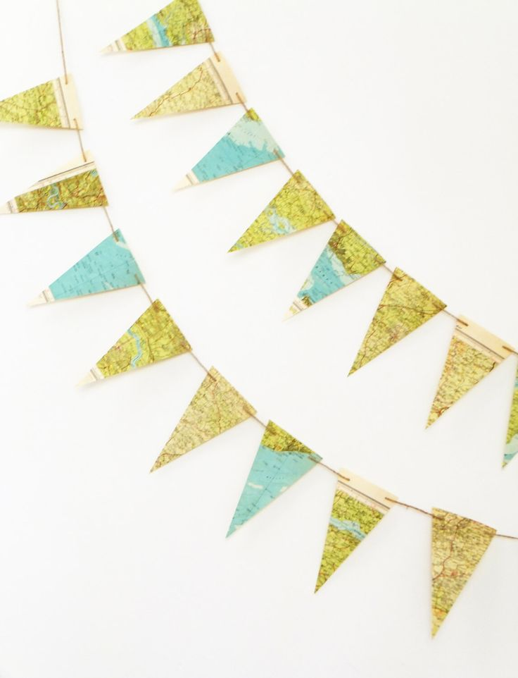 Map Bunting, Essex Map Pennants, English Map bunting, Map Garland, Recycled Banner, Dorm Decor by PeonyandThistle on Etsy https://www.etsy.com/listing/241275316/map-bunting-essex-map-pennants-english