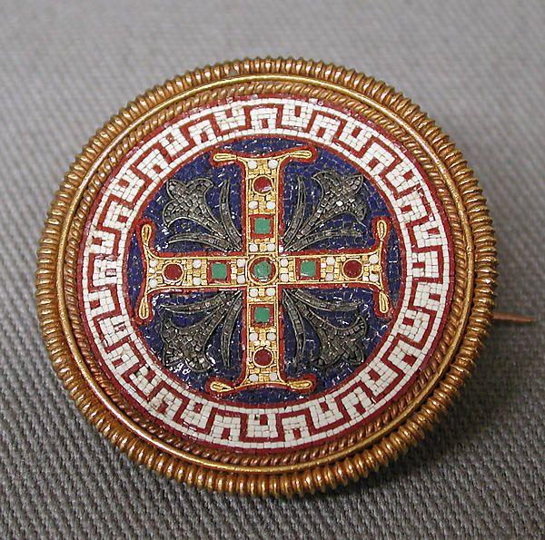 Brooch with Greek Cross Maker: Firm of Castellani Date: ca. 1860 Culture: Italian, Rome Medium: Gold, glass tesserae