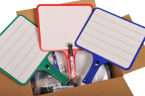 You could win this box of dry erase boards and markers - a classroom set - or one of 14 big prizes! Details on Corkboard Connections!
