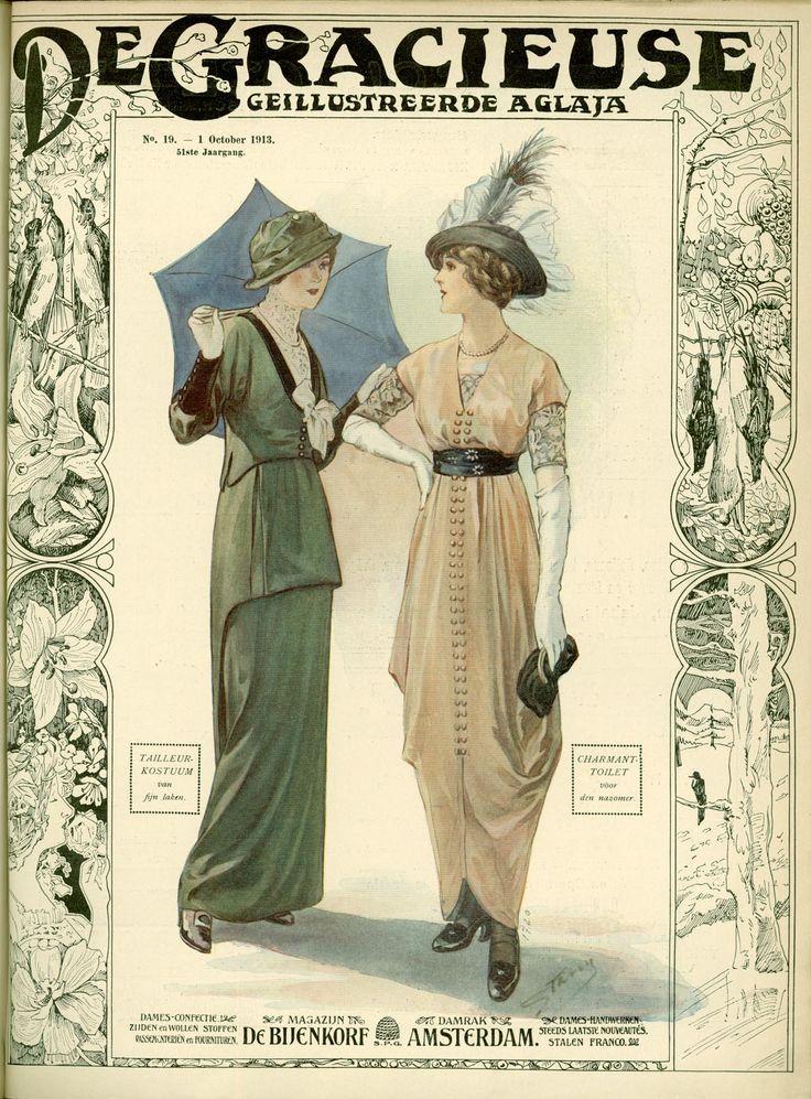 [De Gracieuse] Tailleur-kostuum van fijne laken en charmant-toilet voor den nazomer (October 1913)