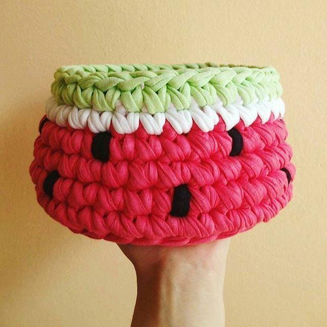 Watermelon crochet basket