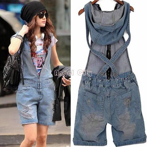 2015 Hole Denim Overalls Women's Jean Jumpsuits Short Pants Washed Jeans Denim Casual Rompers 4 Sizes. Q1228 - http://www.freshinstyle.com/products/2015-hole-denim-overalls-womens-jean-jumpsuits-short-pants-washed-jeans-denim-casual-rompers-4-sizes-q1228/