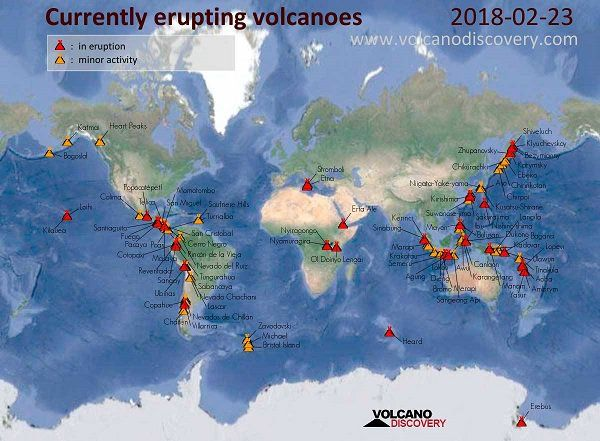 See how many volcanos are erupting right now geography