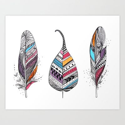 Aztec Leaf and Feathers Art Print by Himadri Pachori - $20.48