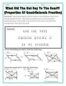 geometry properties of quadrilaterals riddle worksheet cool math. Black Bedroom Furniture Sets. Home Design Ideas