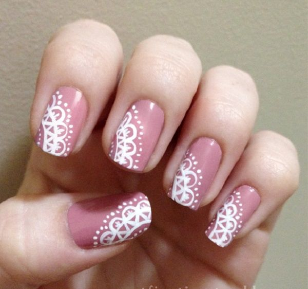 lace nail art 23 - 50+ Intricate Lace Nail Art Designs