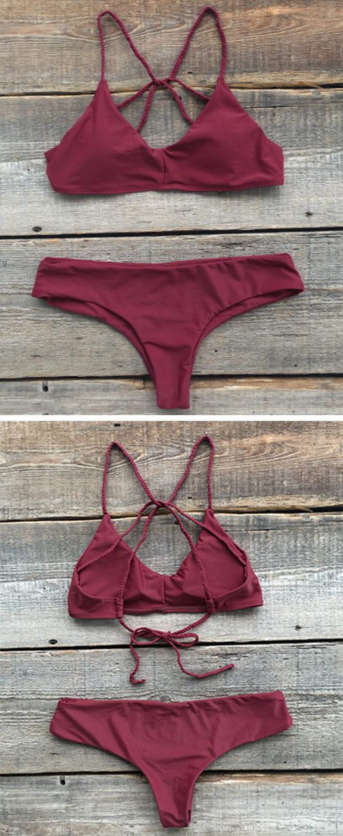 When the look is setting fire, the love is free. This Cross Back Bikini Set, detailed with solid color & High leg cut, will make you lovely but stylish.