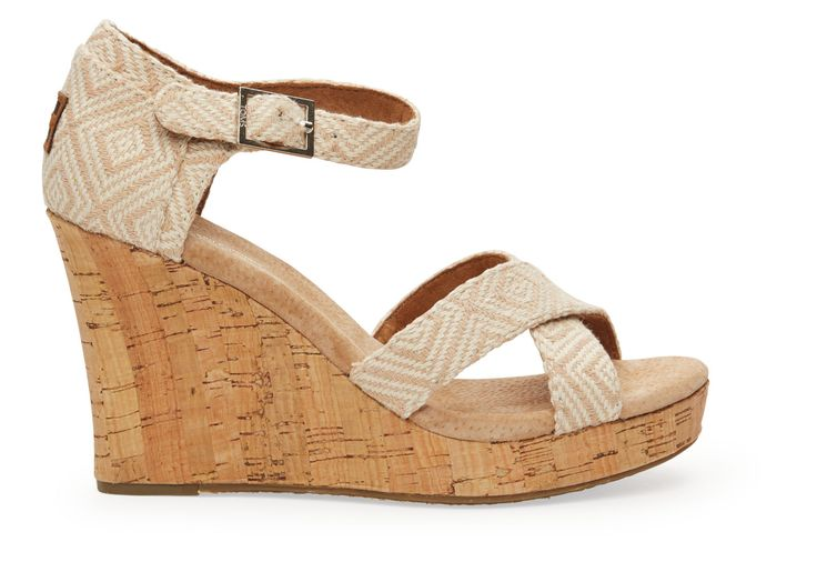 Toms Natural Woven Diamond Women's Strappy Wedge