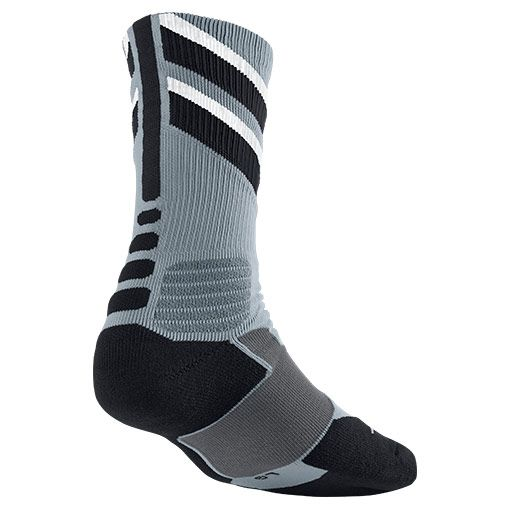 Men's Nike Hyper Elite Chase Basketball Crew Socks | Finish Line | Dove Grey/Black/White