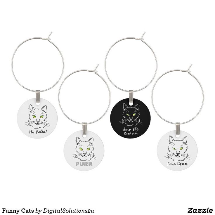Funny Cats Wine Glass Charm