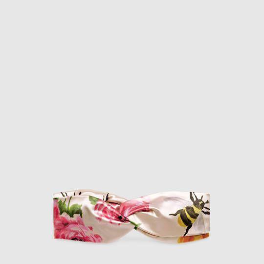 Gucci Fascia per capelli con stampa rose