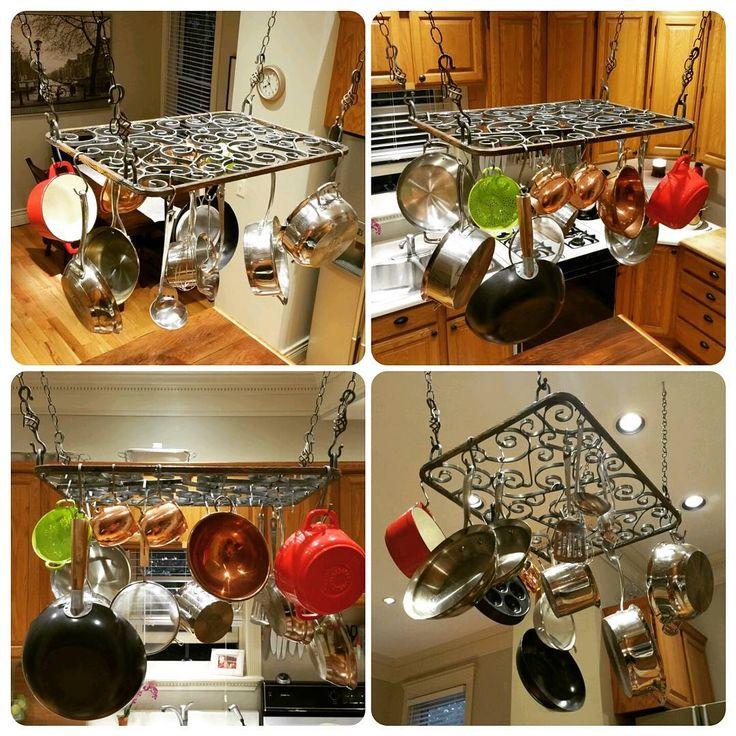 """Scrolls"" - Pot & Pan Rack  Dimensions: 29""x22"" Price: $300  #potrack #panrack #lasser #lassermetalworks #craftsman #craftsmanstyle #kitchenlife #kitchendecor #kitchenstorage #welded #wroughtiron #potsandpans"