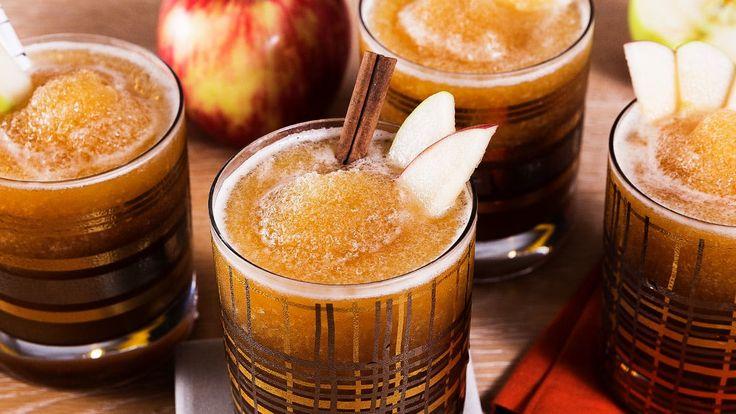 Bourbon cider slushie: 4.5 c cider, 1 c bourbon, 1 c ginger beer, 3/4 c cold chai tea, and 1/4 c lemon juice.  YESSSS