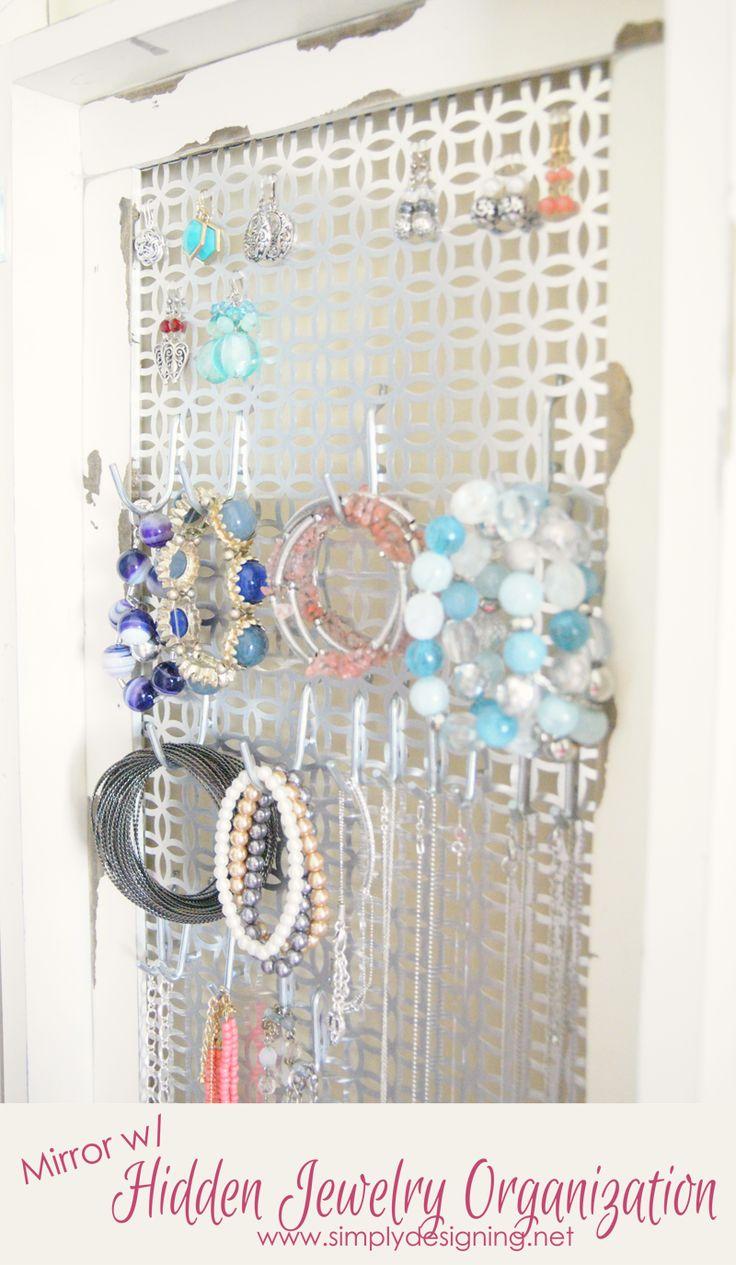 DIY Framed Mirror with Hidden Jewelry Organization