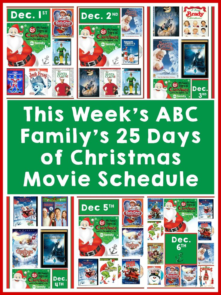 Abc familys 25 days of christmas schedule december 1st
