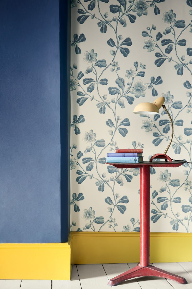 An all over wallpaper pattern, featuring an early 18th century design, based on a botanically accurate reproduction of an American native plant.