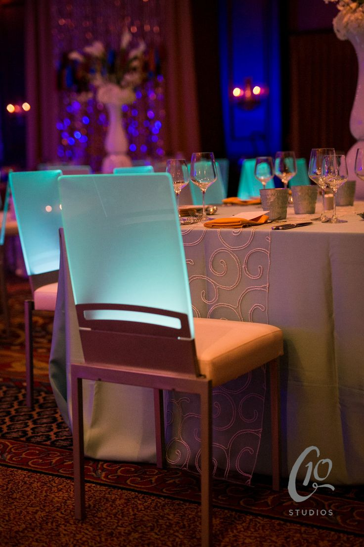 These futuristic light up chairs are so unique! Love them paired with our sheer Soho runner!