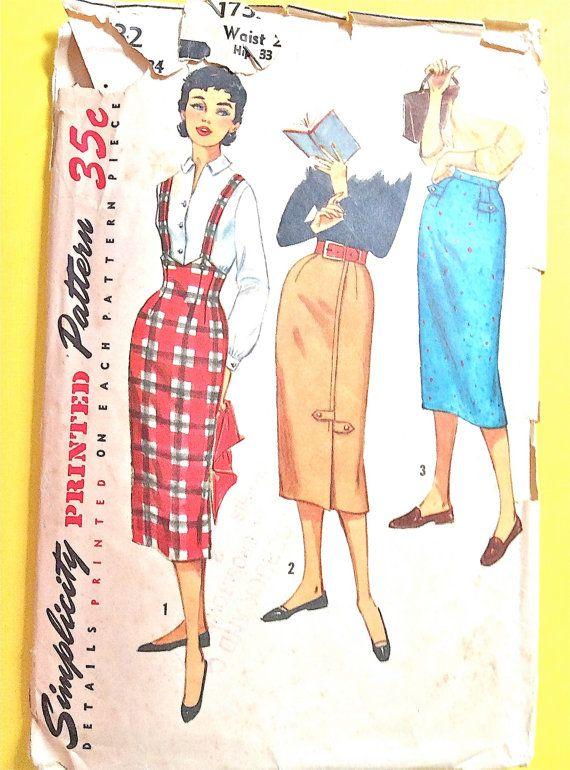 imprimé d'un motif des années 1950 simplicité 1732 des années 50 ans Teen Slim jupes soulevées tour de taille et bretelles couture Vintage motif taille 24 hanches 33