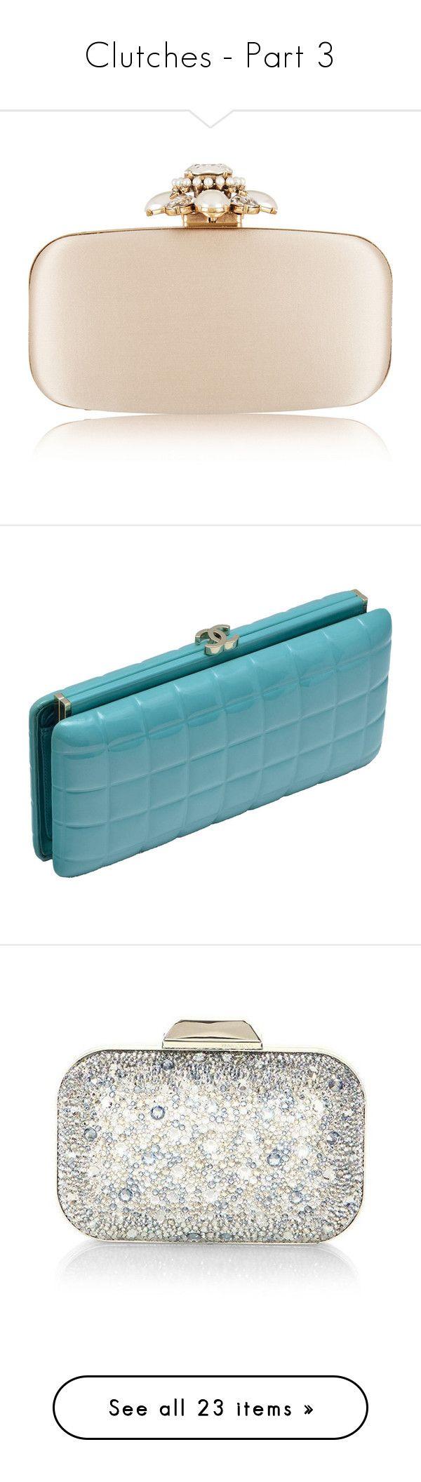 """Clutches - Part 3"" by miriam83 ❤ liked on Polyvore featuring bags, handbags, clutches, bolsas, oscar de la renta, neutrals, box clutch, satin clutches, chain handle handbags and pink purse"