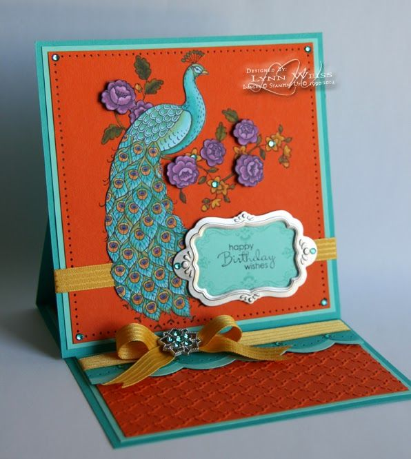 handmade birthday card from ... LW Designs: Perfect Peacock Easel Card ... luv the trruquoise bird against the deep orange ... regal treatment for a gorgeous image ... Stampin'Up!