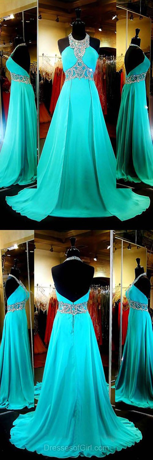 Inexpensive Halter Formal Dresses, Chiffon Party Gowns, Beading Backless Prom Dresses, Cheap Blue Evening Dresses