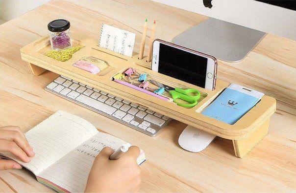 Bamboo Wood Tidy Office Desktop Storage Rack