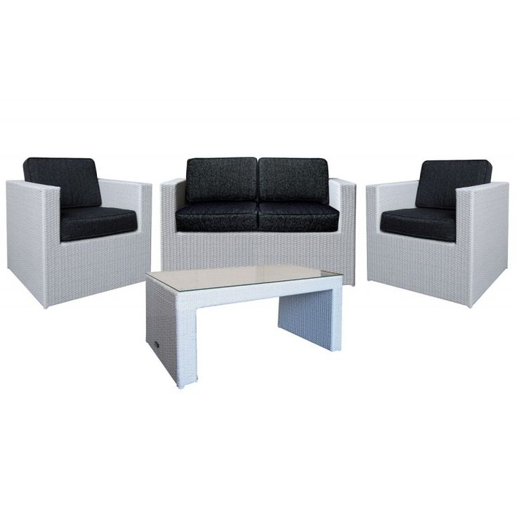 Benefit 4pcs garden seating group aluminum wicker grey pillow anthracite