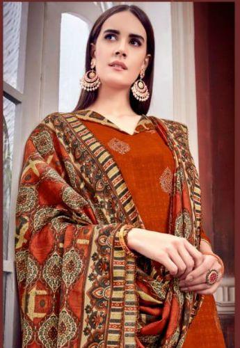 bd8a97d337 Alok Suit Patiyala Gold Pure Pashmina Self & Foil Print Suit 235-009 ...