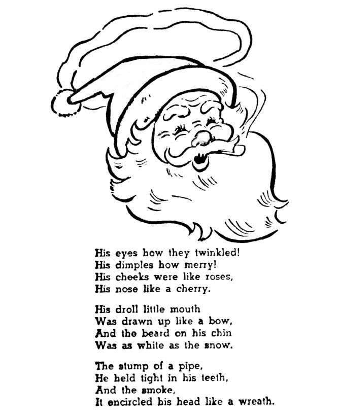 Night Before Christmas Coloring Pages His Eyes How They Twinkled Dimples Merry