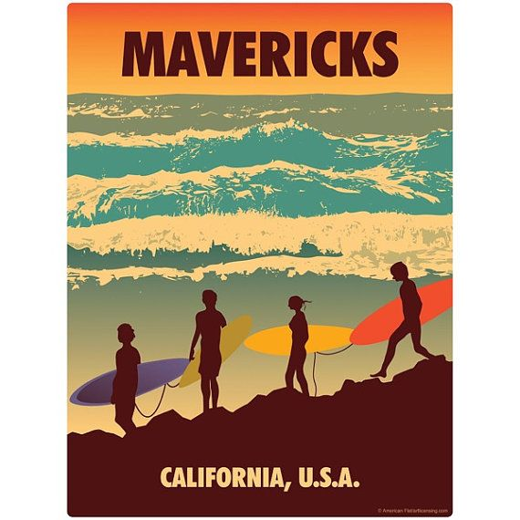 Mavericks California Surfers Wall Decal 48298 by RetroPlanetUSA