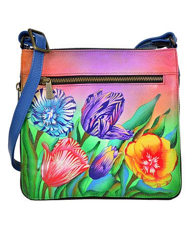 Another great find on #zulily! Turkish Tulips Hand-Painted Leather Crossbody Bag #zulilyfinds
