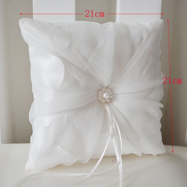 Free Shipping Beige Pearl Satin Ring Bearer Ring Pillow Special Wedding Ceremony Accessory Unique Bridal Ring Bearer Pillow