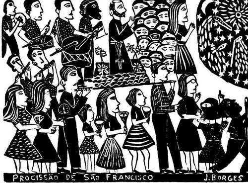 "This postcard is one of several Borges woodblock prints I collected in full size. (Available on Ebay as a postcard). I love how he suggests a crowd of onlookers, which is one of his trademarks. ""Procession of St, Francis""  eBay"