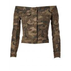 Faith Connexion Off Shoulder Military Denim Jacket