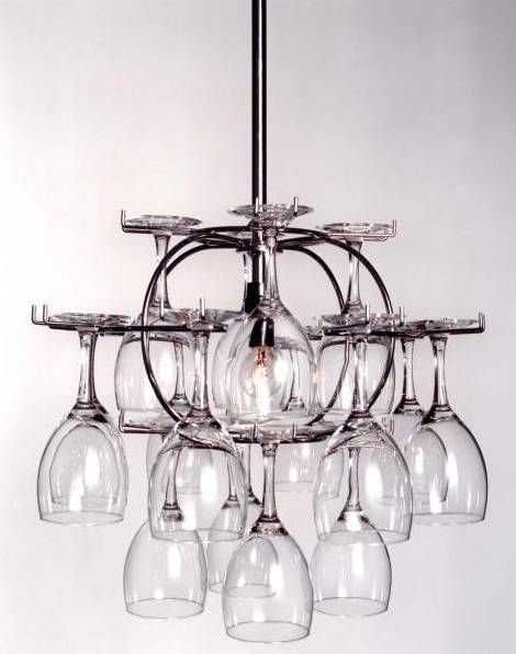 Wine glass storage that doubles as a chandelier. Sweet.