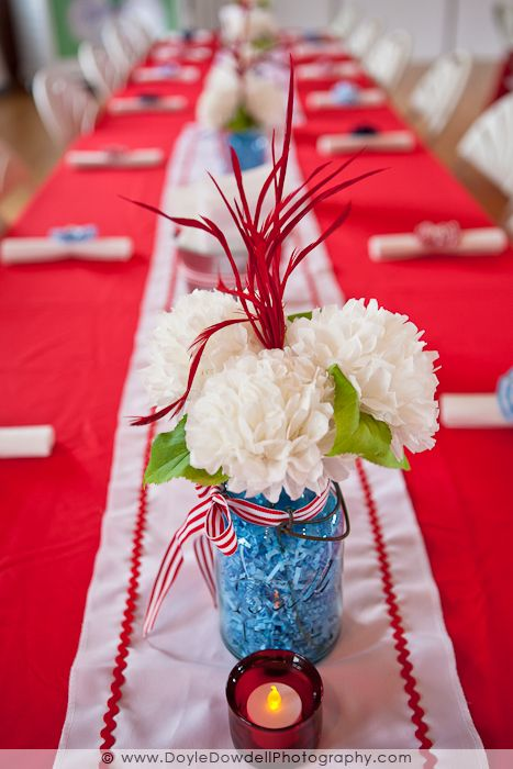 tissue paper flowers and mason jar centerpieces   wedding