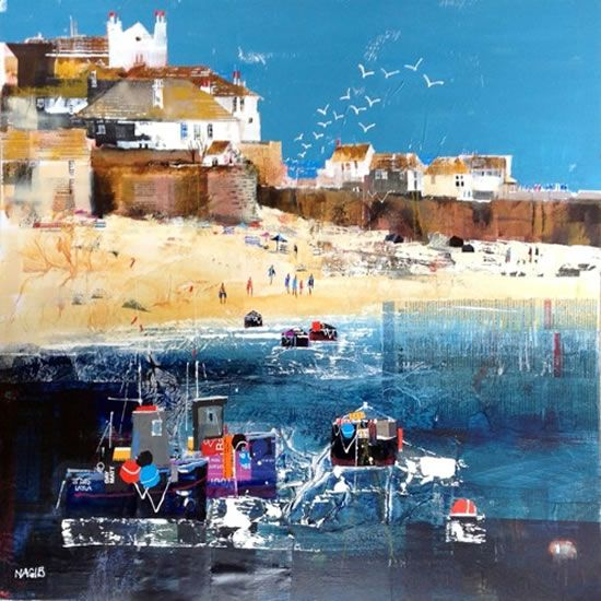 Enjoying The Beach at St Ives, Cornwall - Art Gallery - Painting by Surrey Artist Nagib Karsan (Cranleigh Art Group, Dorking Art Group & Guildford Art Group) - Painting Commissions Invited
