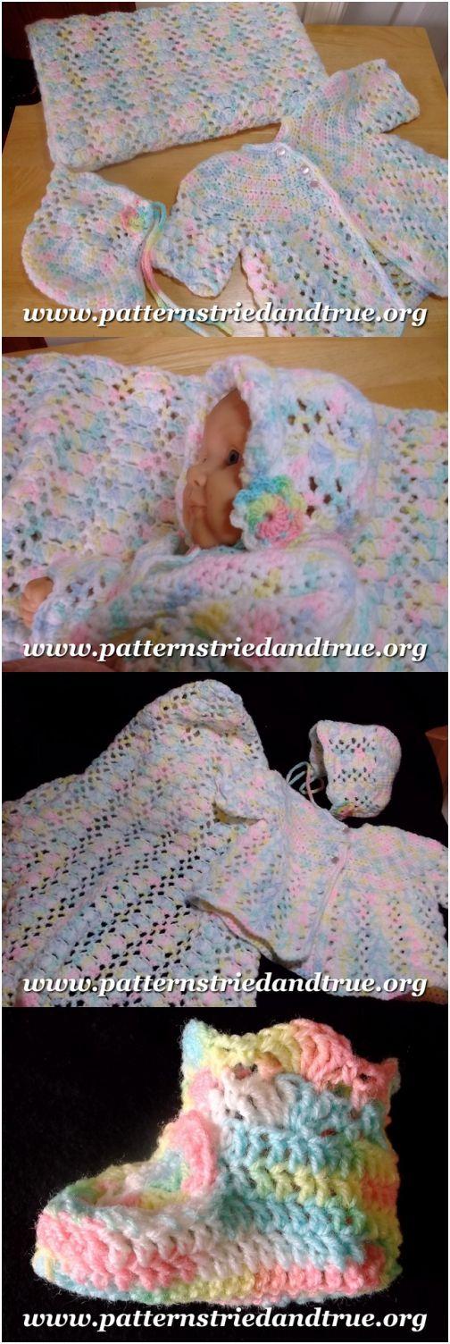 Crochet Baby Layette: Hat, Sweater, Booties, Blanket, Traditional Pattern DIY Scrapbooked Digital Instant Download PDF File
