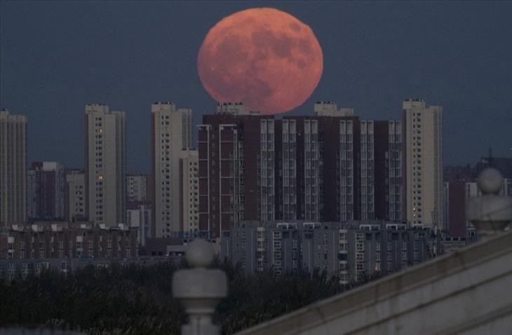 A super lua de Novembro de 2016 em Pequim, China