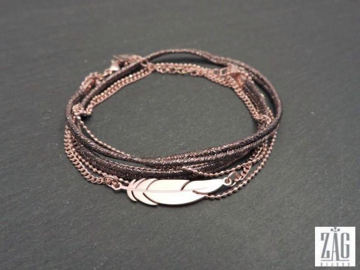 Bracelet ZAG plume multi,rangs SB2031 acier rose