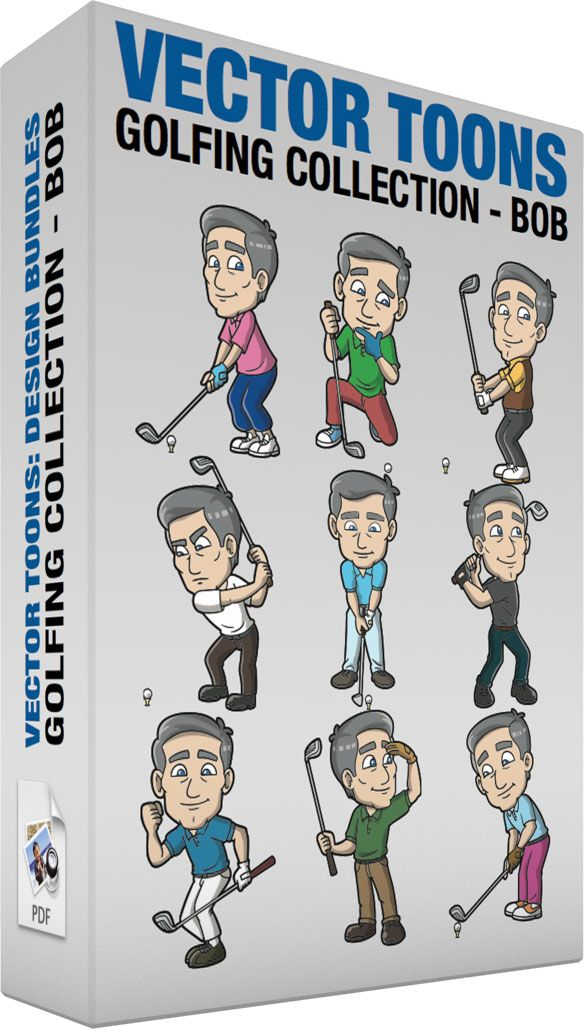 Golfing Collection Bob :  Bundle of images includes the following:  A Mature Man Happily Plays A Game Of Golf A mature man with gray hair wearing a pink polo shirt blue pants white shoes left hand in a blue glove smirks while holding a gray golf club to tee off a white golf ball on a yellow golf peg  A Mature Man Studying A Golf Ball Before His Next Round A mature man with gray hair wearing a green polo shirt left hand in a blue glove pale red pants blue with white sneakers left knee down…