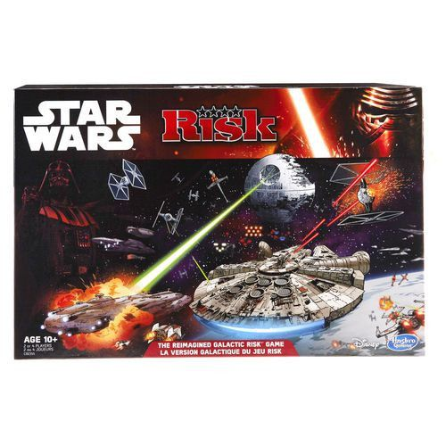 The Risk: Star Wars Edition game lets players recreate the dramatic final moments of Star Wars: Return of the Jedi. Across a TIE fighter-shaped gameboard, players can determine the fate of the Star Wars universe through 3 concurrent, yet distinct, battles. The 3 battles going on simultaneously are: the attack on the Death Star, the shield assault, and the battle between Luke Skywalker and Darth Vader. Opponents choose to play as the light side or the dark side of the Star Wars saga, and use…