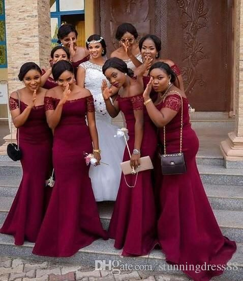 ff11255943 Dark Red Sexy Mermaid 2019 African Bridesmaid Dresses Off The Shoulder Lace  Sleeves Wedding Guest Party
