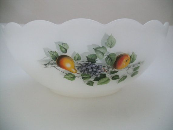Arcopal France Milk Glass Bowls French Fruits by SuzquisTreasures