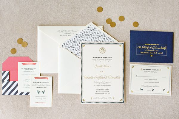 Navy, Gold, and Coral Letterpress Wedding Invitations via @Oh So Beautiful Paper: http://ohsobeautifulpaper.com/2014/01/sarah-winstons-navy-gold-and-coral-letterpress-wedding-invitations/ | Design: Jenny C Design | Photo: @JP Elario #letterpress #wedding