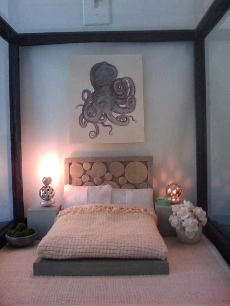 Miniature Modern Bedroom Set -Grey Weathered Wood. $45.00, via Etsy.