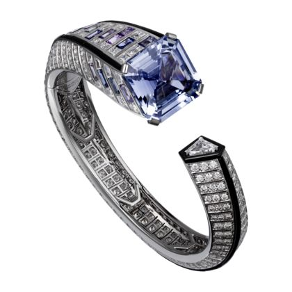 Cartier High Jewelry bracelet Platinum, one 25.42-carat square-shaped sapphire, baguette-cut sapphires, baguette-cut diamonds, one triangular-shaped...