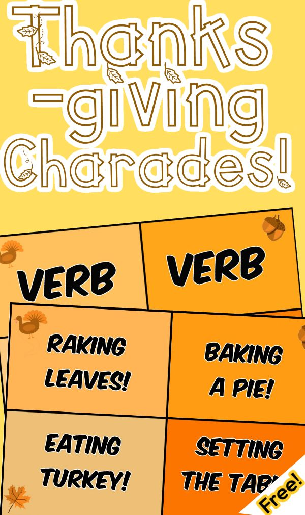 """Let's get festive and practice the parts of speech with a fun game of themed Thanksgiving charades! Just hit print and you are good to with with double sided charade cards that are organized by verbs, nouns, and adjectives that are related to Thanksgiving and the fall season. All cards are in full vibrant color.  *Be sure to hit """"print double sided"""" for the full effect!  Includes: - 20 ThanksgivingThemed words categorized by parts of speech - Parts of speech cheat sheet"""